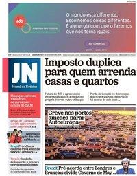 capa Jornal de Notícias de 14 novembro 2018