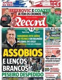 capa Jornal Record de 1 novembro 2018