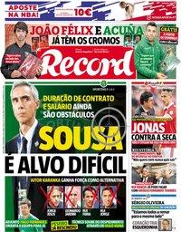 capa Jornal Record de 2 novembro 2018