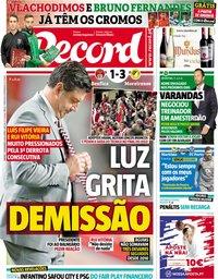capa Jornal Record de 3 novembro 2018