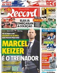 capa Jornal Record de 4 novembro 2018