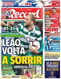 capa Jornal Record de 5 novembro 2018