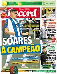 capa Jornal Record de 11 novembro 2018