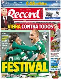 capa Jornal Record de 30 novembro 2018