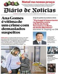 capa Diário de Notícias de 2 dezembro 2018
