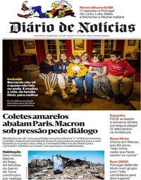 capa Diário de Notícias de 3 dezembro 2018
