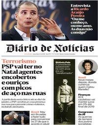 capa Diário de Notícias de 14 dezembro 2018