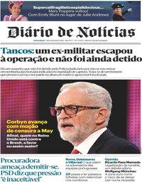 capa Diário de Notícias de 18 dezembro 2018