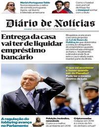 capa Diário de Notícias de 28 dezembro 2018