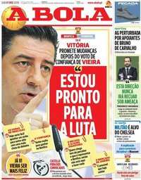 capa Jornal A Bola de 1 dezembro 2018