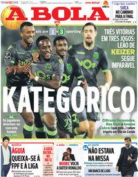 capa Jornal A Bola de 4 dezembro 2018