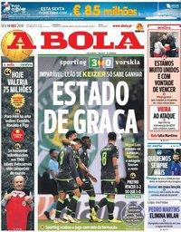 capa Jornal A Bola de 14 dezembro 2018