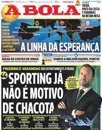 capa Jornal A Bola de 18 dezembro 2018