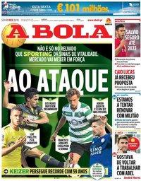 capa Jornal A Bola de 21 dezembro 2018