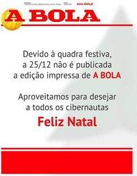 capa Jornal A Bola de 25 dezembro 2018