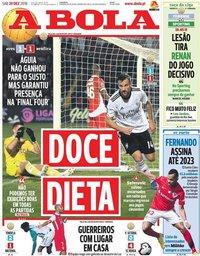 capa Jornal A Bola de 29 dezembro 2018