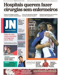 capa Jornal de Notícias de 8 dezembro 2018
