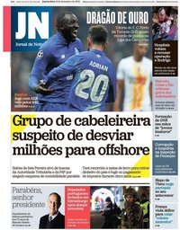 capa Jornal de Notícias de 12 dezembro 2018