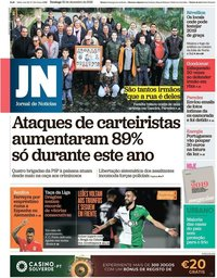 capa Jornal de Notícias de 30 dezembro 2018