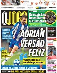capa Jornal O Jogo de 1 dezembro 2018
