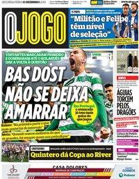 capa Jornal O Jogo de 10 dezembro 2018