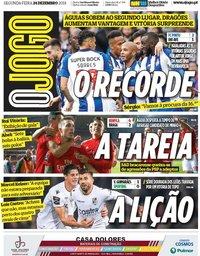 capa Jornal O Jogo de 24 dezembro 2018