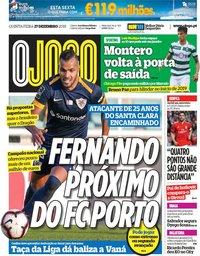 capa Jornal O Jogo de 27 dezembro 2018