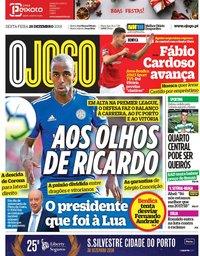 capa Jornal O Jogo de 28 dezembro 2018