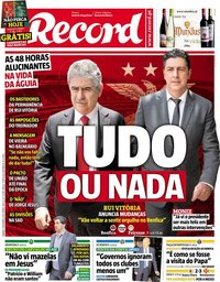 capa Jornal Record de 1 dezembro 2018