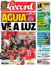 capa Jornal Record de 2 dezembro 2018