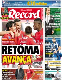 capa Jornal Record de 6 dezembro 2018