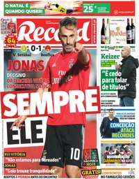capa Jornal Record de 9 dezembro 2018