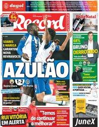 capa Jornal Record de 16 dezembro 2018