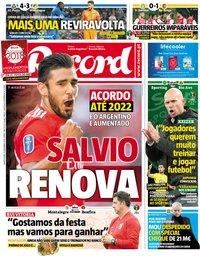capa Jornal Record de 19 dezembro 2018