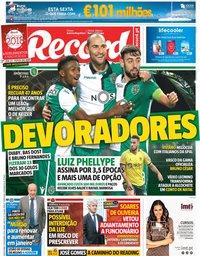 capa Jornal Record de 21 dezembro 2018