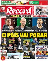 capa Jornal Record de 23 dezembro 2018