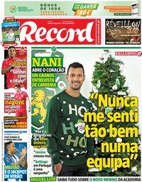 capa Jornal Record de 26 dezembro 2018
