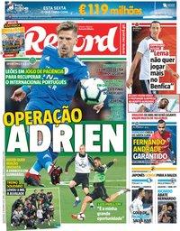 capa Jornal Record de 27 dezembro 2018