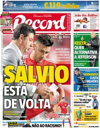 capa Jornal Record de 28 dezembro 2018