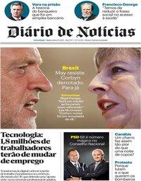 capa Diário de Notícias de 17 janeiro 2019