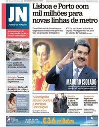 capa Jornal de Notícias de 10 janeiro 2019