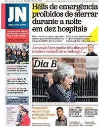 capa Jornal de Notícias de 15 janeiro 2019