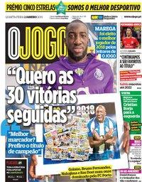 capa Jornal O Jogo de 2 janeiro 2019