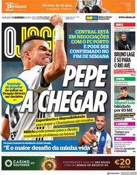 capa Jornal O Jogo de 5 janeiro 2019