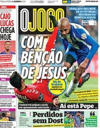capa Jornal O Jogo de 8 janeiro 2019