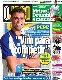 capa Jornal O Jogo de 9 janeiro 2019