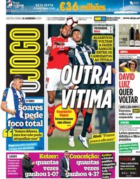 capa Jornal O Jogo de 11 janeiro 2019