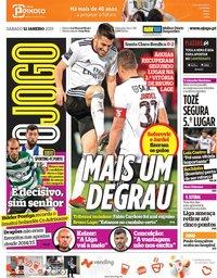 capa Jornal O Jogo de 12 janeiro 2019