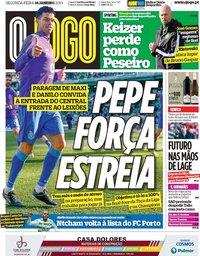 capa Jornal O Jogo de 14 janeiro 2019
