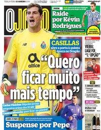 capa Jornal O Jogo de 15 janeiro 2019